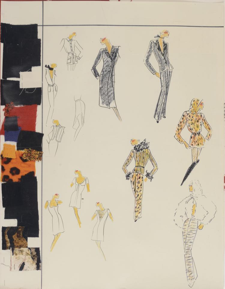 YVES SAINT LAURENT (1936-2008) ATTRIBUÉ À  Affiche représentant des modèles de Collections Yves saint