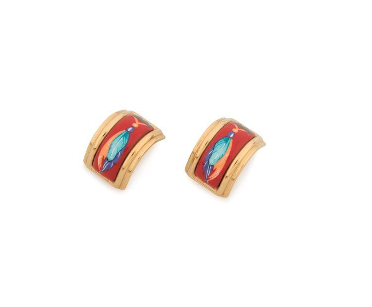 HERMES PARIS  Paire de clips d'oreilles en émail rouge à