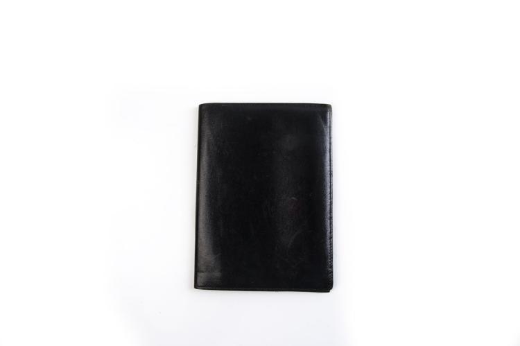 HERMES PARIS  Porte carte en cuir noir initiales FR