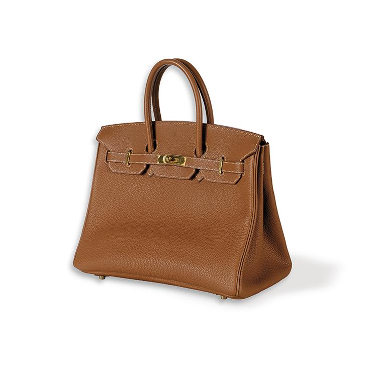 HERMES PARIS MADE IN FRANCE Sac «Birkin» 35 cm. en veau togo gold, garniture
