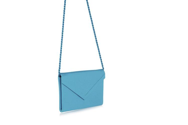 CHRISTIAN DIOR Boutique Petite pochette à bandoulière bleu turquoise.