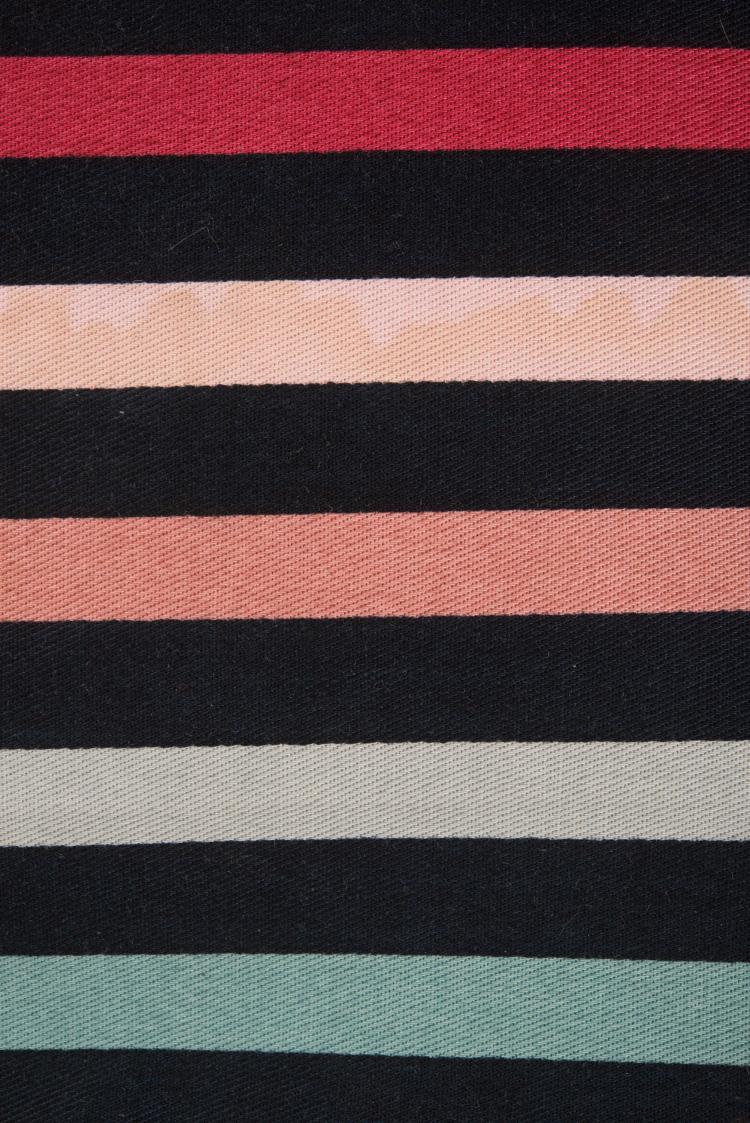 SONIA RYKIEL Sac en toile colorée et noire.