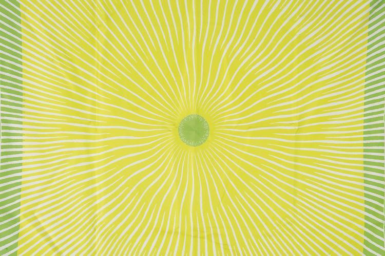 HERMES PARIS Carré en soie imprimée à décor vert anis et bordure vert pomme.