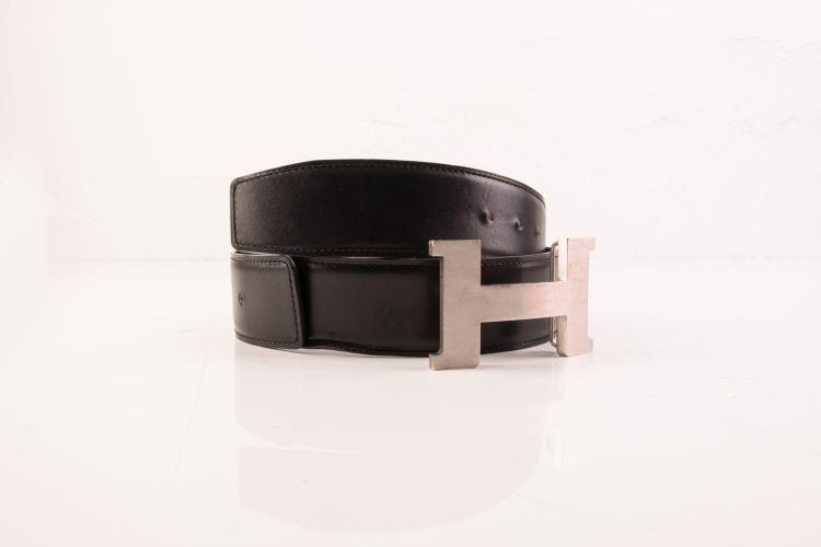 HERMES PARIS Made in France Ceinture d' homme en cuir reversible noir / chocolat, bouche