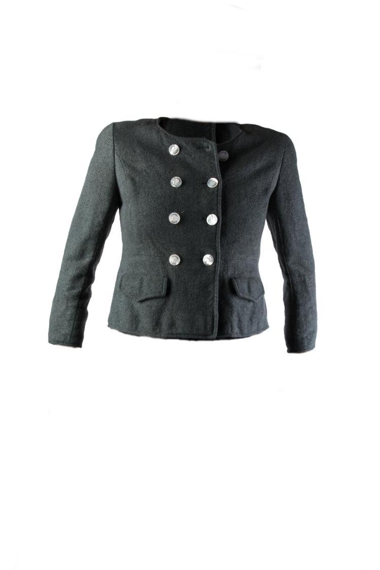 CHANEL Boutique  Ensemble comprenant une veste en laine gris antracite boutonnée devant par deux rangs de boutons