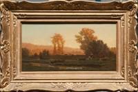Auguste ANASTASI (1820-1889) Vaches s'abreuvant. Huile sur panneau. Signée et datée 52 en bas à gauche. 22 x 43 cm.