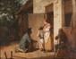 François-Marius GRANET (1775-1849)  Le colporteur.  Huile sur papier marouflé sur panneau.  Signée en bas à droite et datée (1818).  35 x 45 cm.