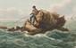 LEMONNIER  Pêcheur sur un rocher.  Aquarelle.  Signée et datée 1824 en bas à gauche.  15 x 22 cm.