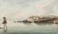 LEMONNIER  Femme à la pêche.  Aquarelle.  Signée et datée 1824 en bas à gauche.  13,5 x 22 cm.