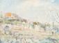 Lucien ADRION (1889-1953)  Les jardins.  Huile sur toile. Signée en bas à droite. Contresignée  et titrée au dos. 46 x 62 cm.