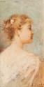 ZURBA  Portrait de dame.  Huile sur panneau. Signée en bas  à droite. 23 x 13 cm.