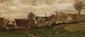 Ernest Victor HAREUX (1847-1909)  Village fleuri.  Huile sur toile.  Signée en bas à droite.  27 x 57 cm.