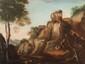 Ecole française du XVIIème siècle  Paysages animés aux ruines.  Paire de toiles.  74 x 98 cm.