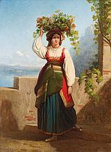 Dominique PAPETY (1815-1849)  Paysanne dans un paysage florentin.