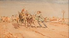 Emile LOUBON (1809-1863)  Paysans.