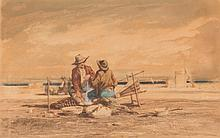 Emile LOUBON (1809-1863)  Pêcheurs sur la plage.