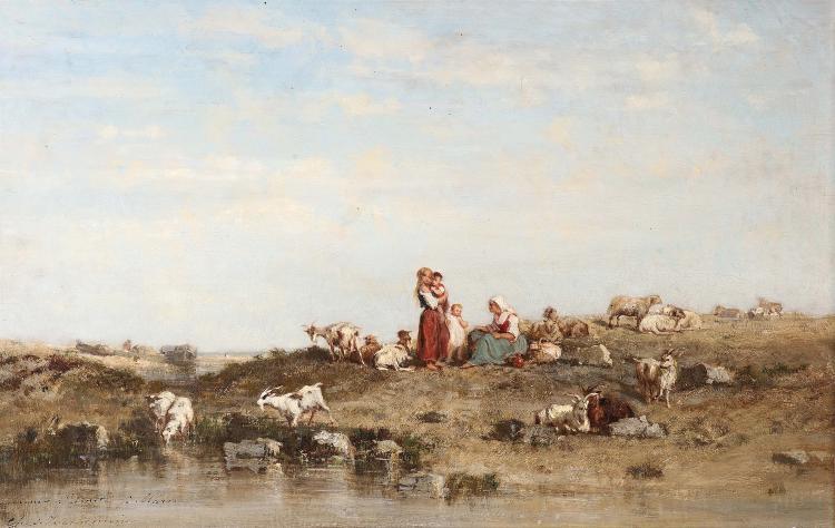 Charles Émile Vacher de TOURNEMINE (1812-1872) Bergères et enfants gardant le troupeau.