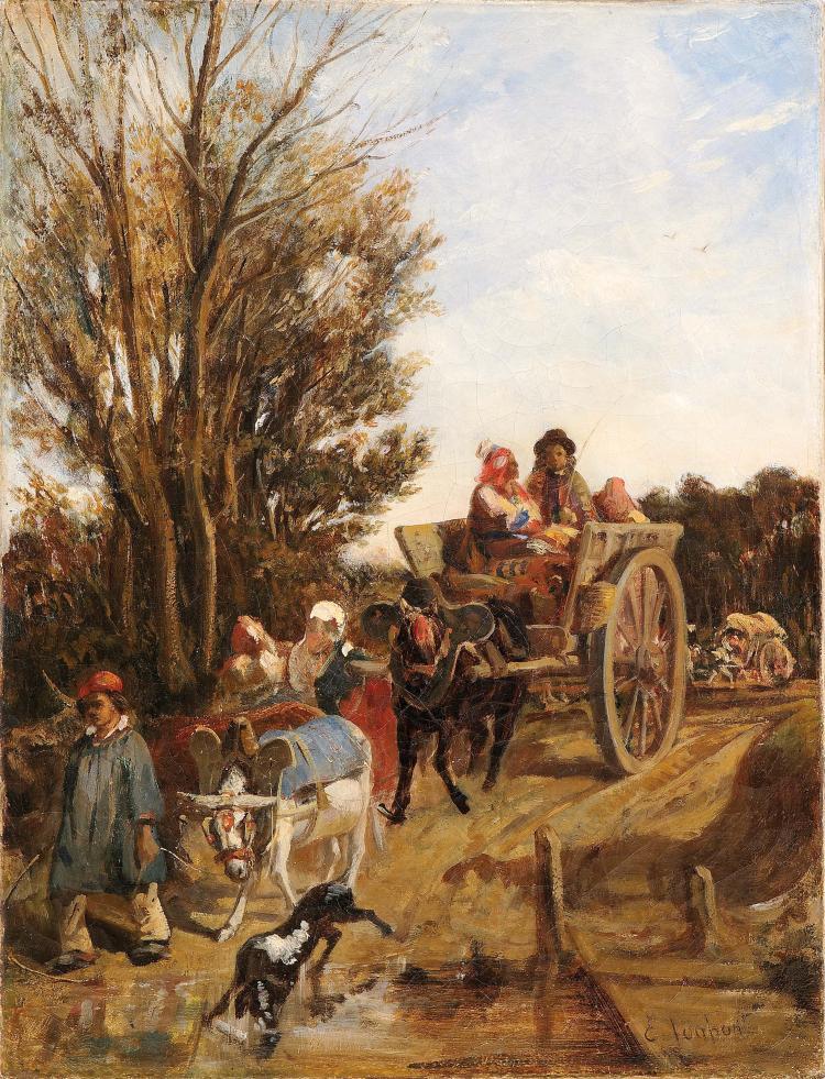 Emile LOUBON (1809-1863) La charrette.