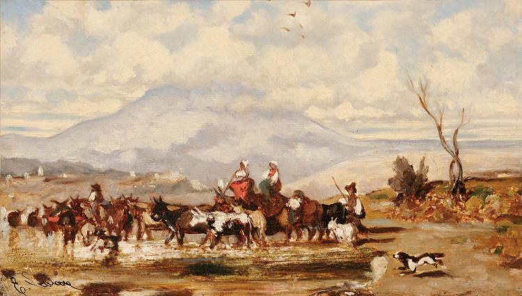 Emile LOUBON (1809-1863) Passage du gué.