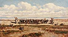 Emile LOUBON (1809-1863)  Manade en camargue. 1840.
