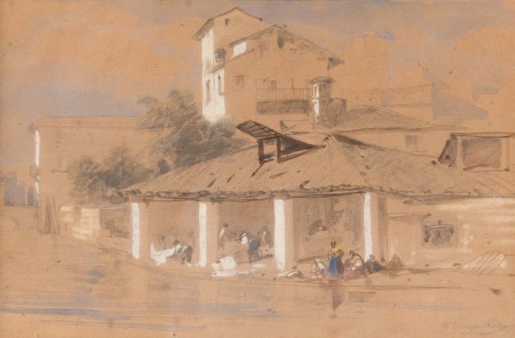 Marius ENGALIÈRE (1824-1857)  Le lavoir.