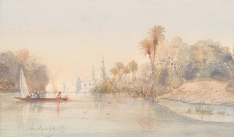 Louis Amable CRAPELET (1822-1867)  Paysage animé oriental.