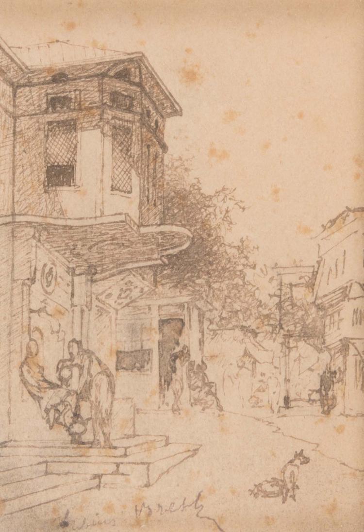 Germain Fabius BREST (1823-1900) Scène de rue.
