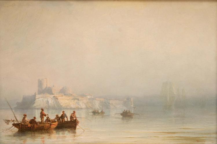 François Pierre BARRY (1813-1905) Pêcheurs devant le château d'If.