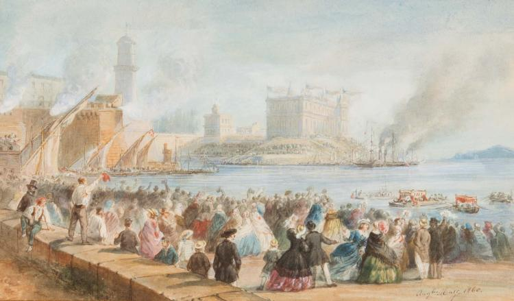 Jean Auguste MARC (1818-1886) Visite au château de Marseille. 1860.