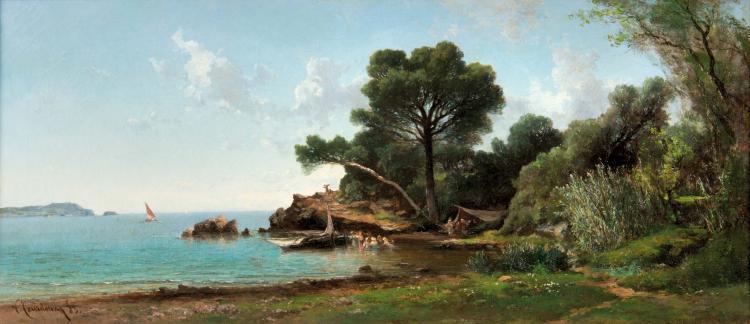 Vincent COURDOUAN (1810-1893)  Plage animée aux alentours de Toulon.