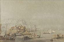 Vincent COURDOUAN (1810-1893)  Déchargement des rondins de bois. 1889.