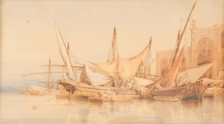 Vincent COURDOUAN (1810-1893)  Bateaux à quai. 1812.
