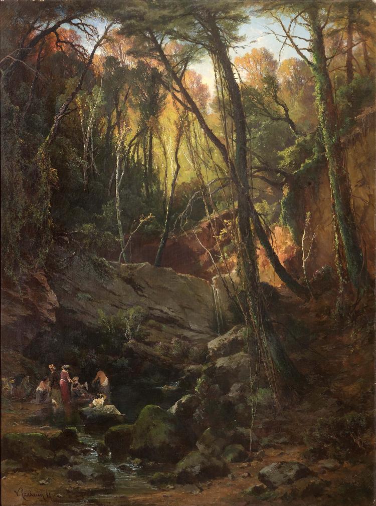 Vincent COURDOUAN (1810-1893) La salle verte de Dardennes. 1884.