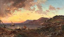 Vincent COURDOUAN (1810-1893)  Coucher de soleil sur la calanque. 1883.