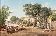 Vincent COURDOUAN (1810-1893)  Cabanon animé. 1871.