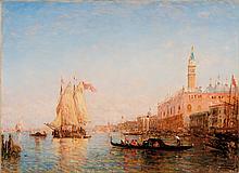Félix ZIEM (1821-1911)  Gondoles et voiles devant le palais des Doges à Venise.