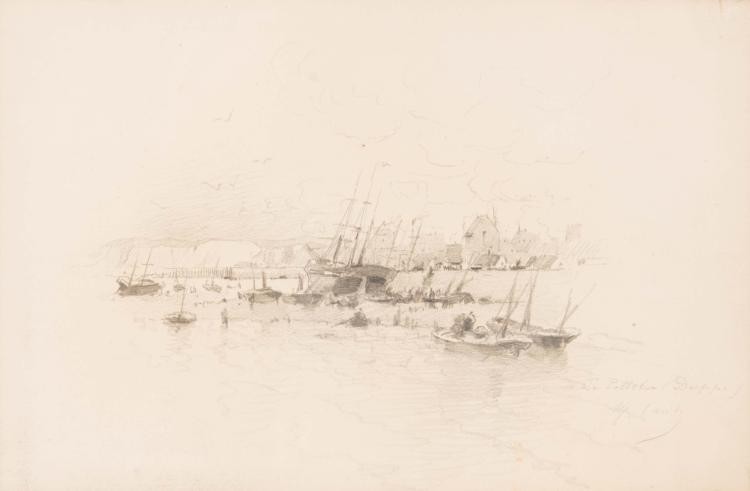 Alfred CASILE (1848-1909) Bateaux à quai.