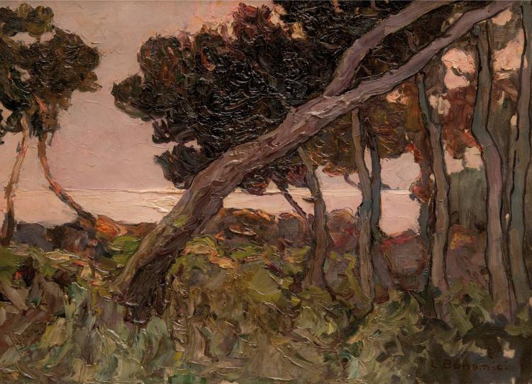 Louis BONAMICI (1878-1966) Pins en bord de mer.