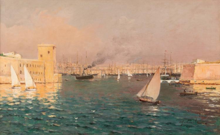 Alfred CASILE (1848-1909)  L'entrée du port de Marseille.