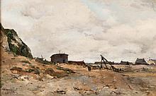 Alfred CASILE (1848-1909)  Plage animée.
