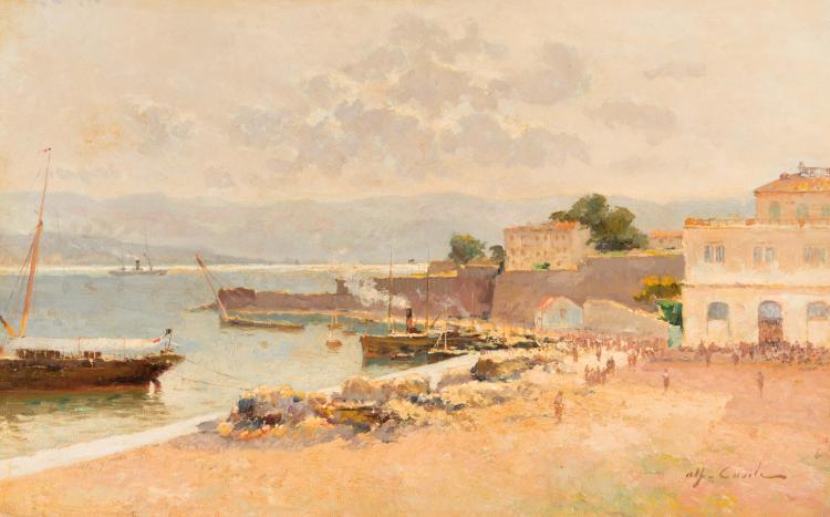 Alfred CASILE (1848-1909) Bateaux à quai dans le port.
