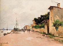 Alfred CASILE (1848-1909)  Maisons sur le quai animé de voiliers et personnages.