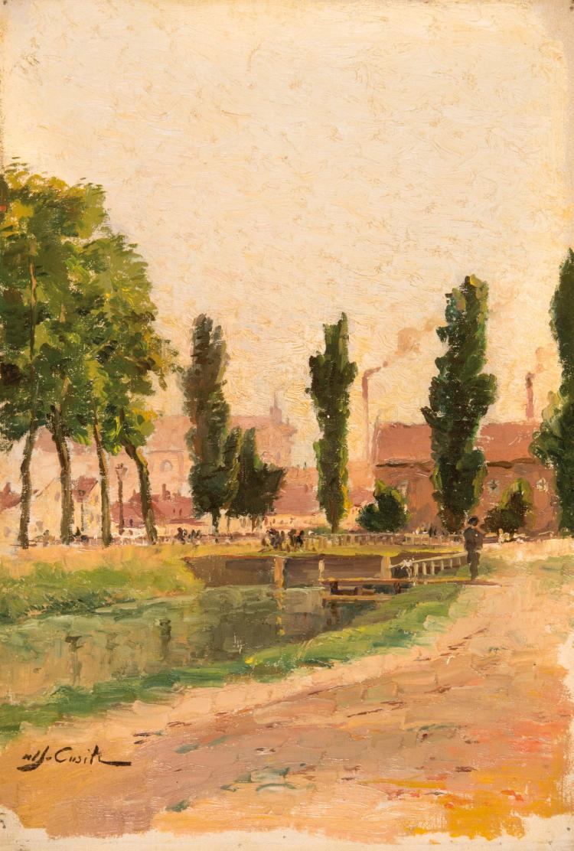 Alfred CASILE (1848-1909) Rivière traversant le village.