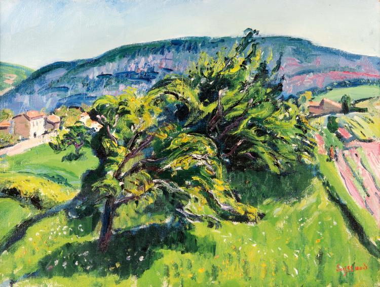 René SEYSSAUD (1867-1952)  Paysage aux grands arbres.