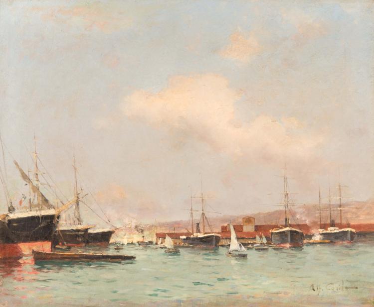 Alfred CASILE (1848-1909)  Port animé.