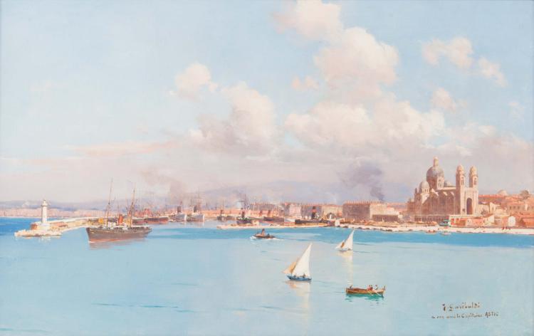Joseph GARIBALDI (1863-1941) Le bassin de la Joliette vu de la Major.