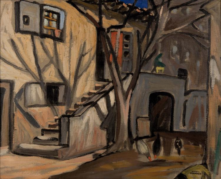 Louis-Mathieu VERDILHAN (1875-1928)  La cour de la bastide.