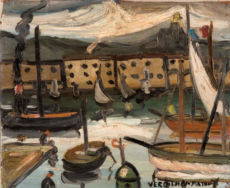 Louis-Mathieu VERDILHAN (1875-1928)  Le port de Marseille. Circa 1927.