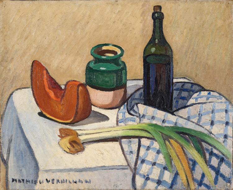 Louis-Mathieu VERDILHAN (1875-1928) Nature morte à la bouteille et au pichet.