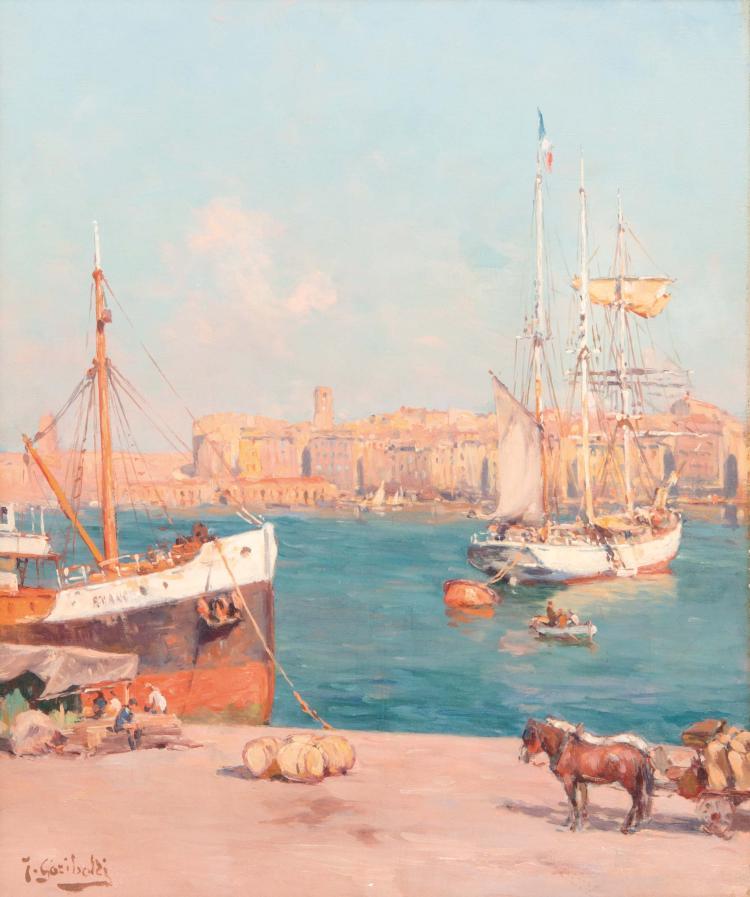 Joseph GARIBALDI (1863-1941)  Bateaux dans le port de Marseille.
